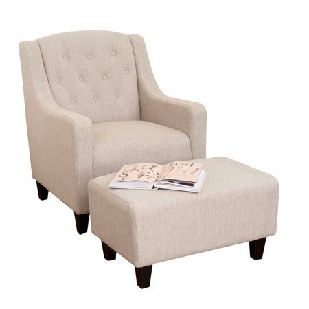 Tufted Chair And Ottoman - chapman tufted beige fabric chair and ottoman set