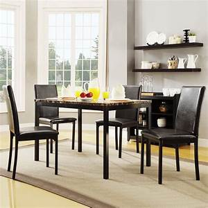 weston, home, tempe, 5-piece, metal, table, with, faux, marble, top, dining, set, -, dark, brown