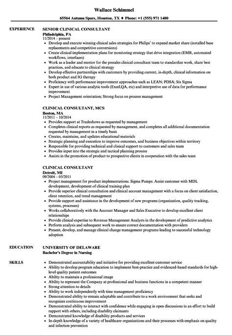 Clinical Resume Exles by Clinical Consultant Resume Sles Velvet