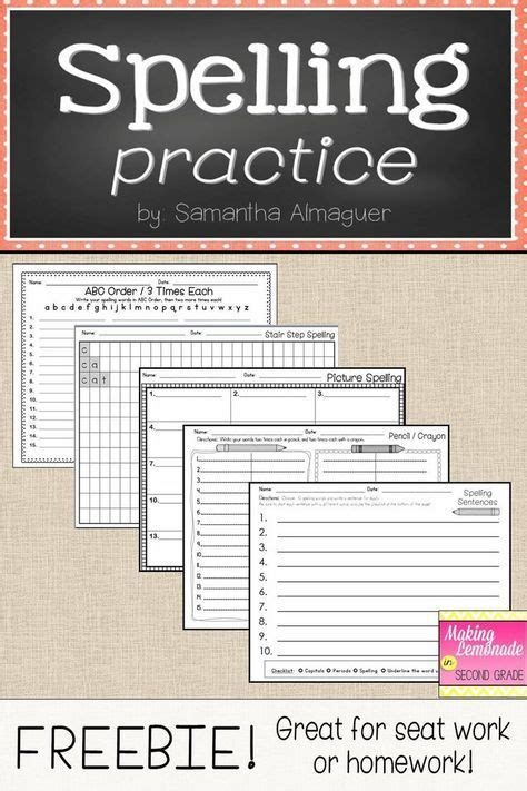 spelling practice great  homework  seat work