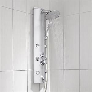 Colonne de douche hydromassante avec robinetterie, gris, Tuina Leroy Merlin