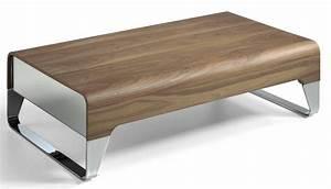 Table Basse Bois Acier : table basse bois plaqu noyer et acier inoxydable louna ~ Teatrodelosmanantiales.com Idées de Décoration