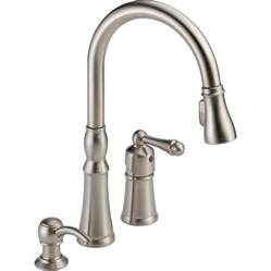 kitchen faucet handle shop peerless decatur stainless 1 handle pull deck mount kitchen faucet at lowes com