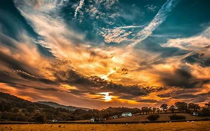 Sky Clouds Sunset Horizon 4k Background Ultra