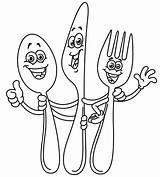 Outline Forca Coltellino Cucchiaio Yayayoyo Lepel Cuchara Cuchillo Tenedor Forks Geschetste Yael Espetáculo Esboçado Garfo sketch template