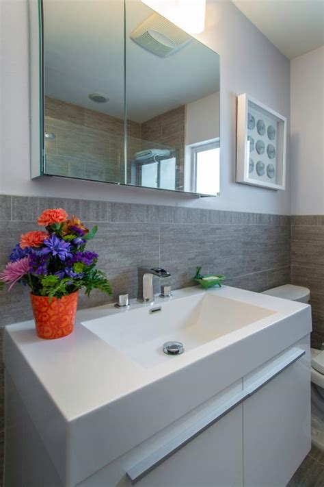 Grey Bathroom Fixtures by Gray Bathroom With Modern Vanity And Fixtures Hgtv