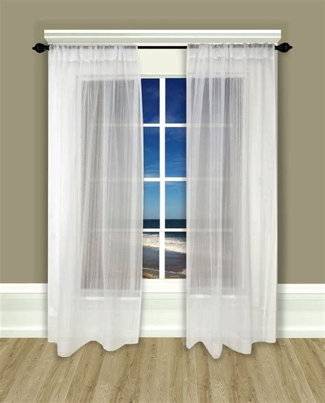 rod pocket curtain panel pair atlantic stripe sheer