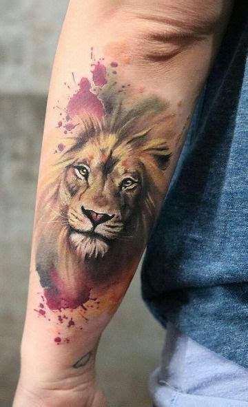 realistas tatuajes de leones  color  mas de