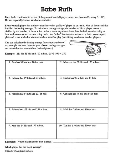 babe ruth has math sums and problems that help kids in