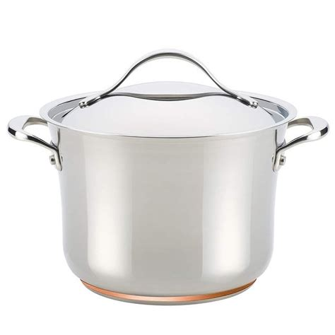 anolon nouvelle copper stainless steel  quart covered stockpot overstock