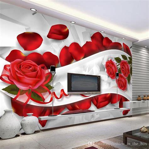 romantic  wallpaper wall mural red rose photo wallpaper