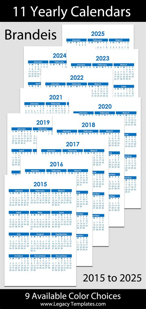 yearly calendar      legacy