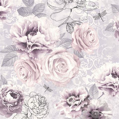 graham brown fresco pink purple grey floral wallpaper