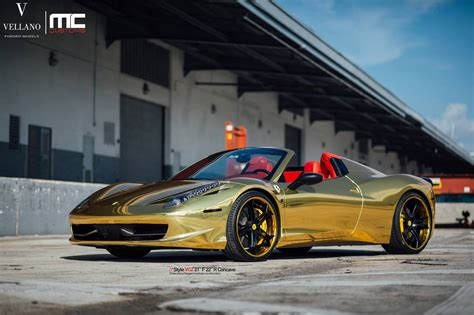 gold ferrari 458 gold ferrari 458 spider with vellano forged wheels gtspirit