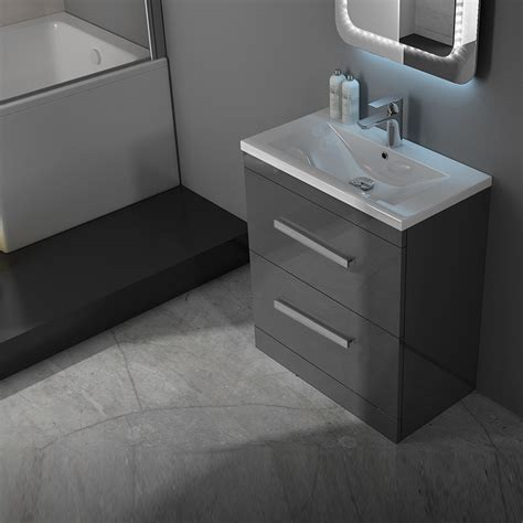 sink basin cabinet patello 60 grey vanity unit and basin 2 draws buy