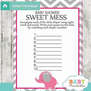 Hot Pink Elephant Baby Shower Games - D103 - Baby Printables