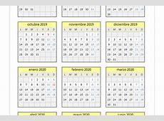 Calendario 20192020 en Excel PlanillaExcelcom