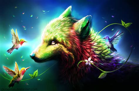Anime Rainbow Wolf Wallpaper by Wolf Of Many Colors By Demeritas Rainbow