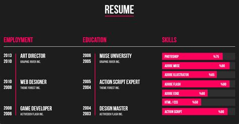 personal resume muse web template by barisintepe themeforest