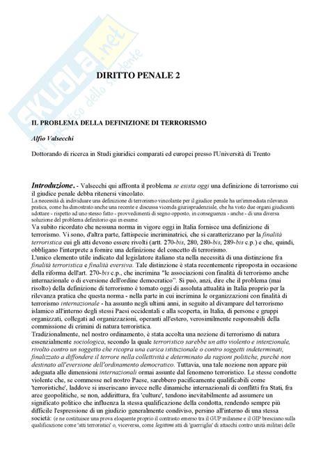Dispensa Diritto Penale by Diritto Penale 2 Terrorismo Dispense