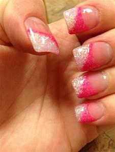 Pink glitter acrylic nails   Hair/Nails   Pinterest