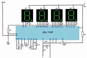 Led Digital Voltmeter Working With Circuit Diagram