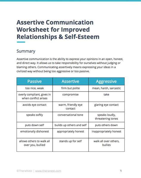 assertive communication worksheet  improved