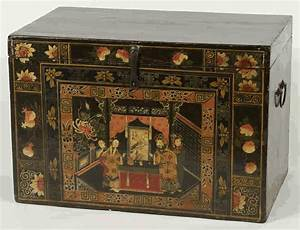 Antique asian furniture trunk with painted opera scene for Asian trunk coffee table