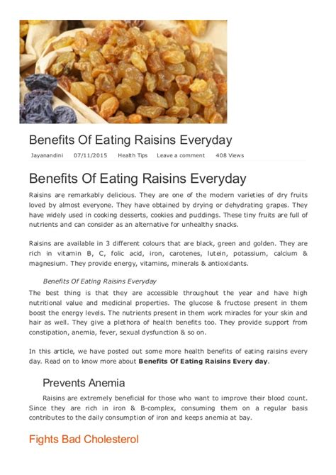 Benefits Of Eating Raisins Everyday