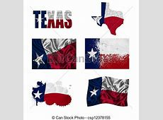 Texas flag collage Texas flag and map in different styles