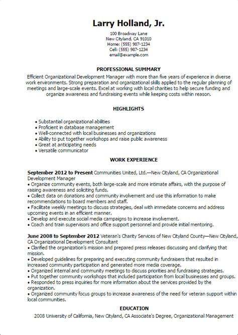 Organizational Development Resume Template professional organizational development templates to