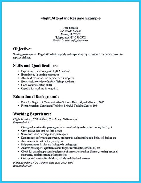 pin  resume template   flight attendant resume