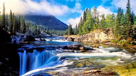 Background Nature Wallpaper by Nature Mountain Dense Spruce Forest River Rock Waterfall