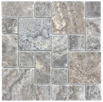 tile travertine silver ash tumbled sheet 10 box