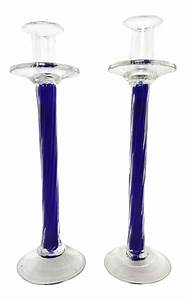 hand blown cobalt blue glass candle holders a pair With kitchen cabinets lowes with glass blown candle holders