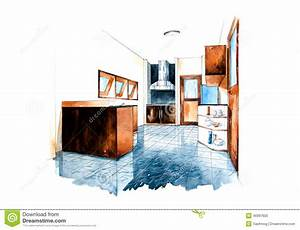 Kitchen Room Design Of Watercolor Painting Stock