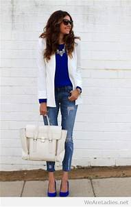 Blue blouse white blazer jeans and high heels