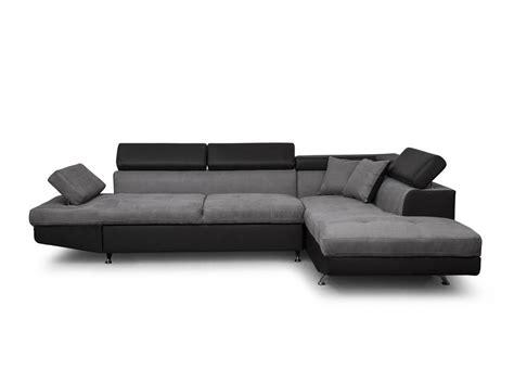 canapé gris canapé d 39 angle droit convertible avec coffre noir gris
