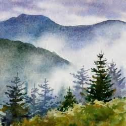 Watercolor Painting Landscape Mountains
