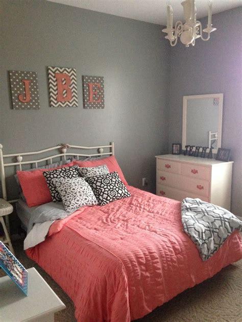 coral bedspread ideas  pinterest grey bed room ideas teen bed room ideas  teen