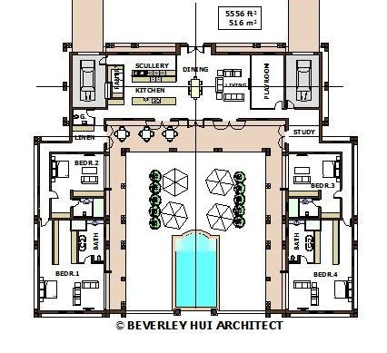 shaped house plans  pool   middle pg