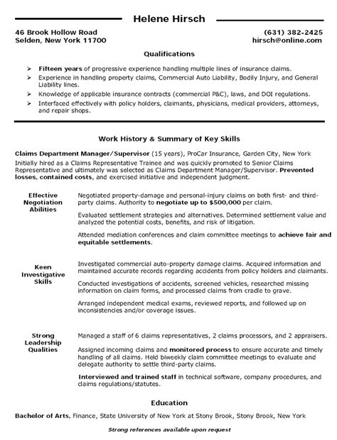 beautiful claims management resume photos resume sles