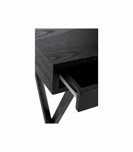 Bureau Bois Et Metal : bureau design en bois noir et m tal 2 tiroirs jline ~ Teatrodelosmanantiales.com Idées de Décoration