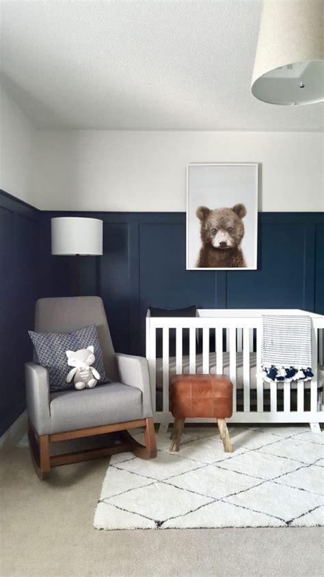 modern bear woodland nursery grey nursery boy boy room