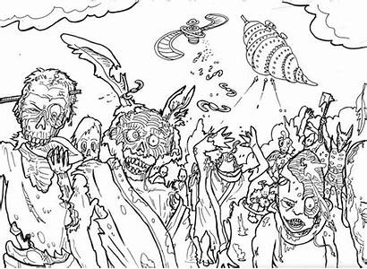 Coloring Halloween Zombie Pages Adults Adult Teens