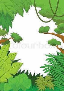 Vector illustration of Tropical jungle cartoon background ...