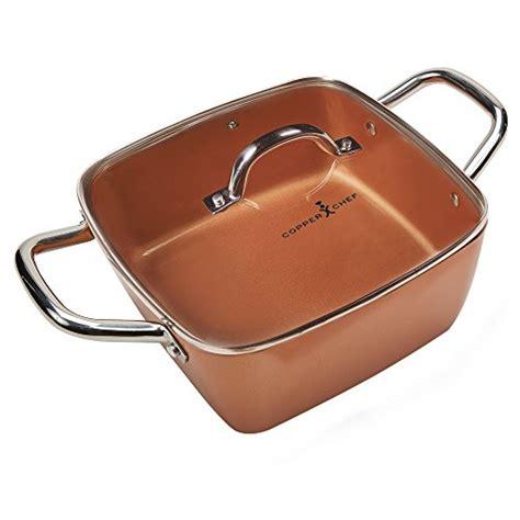 copper chef   diamond fry pan square frying pan  lid skillet  ceramic  stick