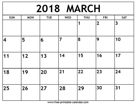 calendar template march 2018 march 2018 calendar printable template with holidays pdf usa uk