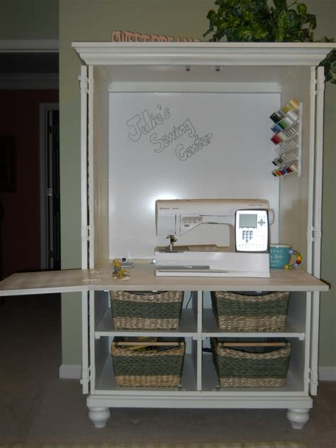 repurpose tv cabinet an tv cabinet was repurposed into a sewing center