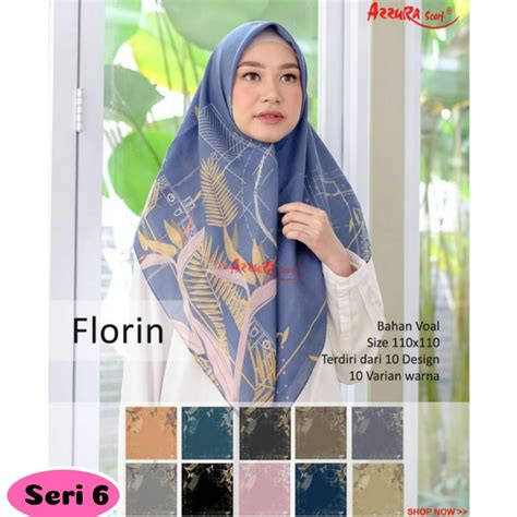 Jual Florin jilbab segiempat florin seri 6 by azzura scarf grosir